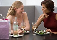 Two women eating lunch at restaurant