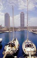 Olympic harbour with the two multistory buildings, Barcelona, Spain