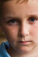 Close up of boy crying