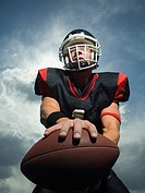 Low angle view of football player