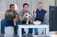 Multi_ethnic men watching sports on television
