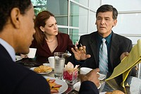Business people having meeting in restaurant