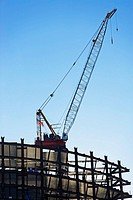 Crane on construction site, New York City, New York, United States