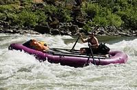 Man whitewater rafting