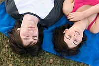 Young couple relaxing, portrait, elevated view