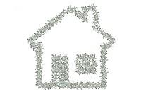 Familienhaus aus Geldscheinen. Dollars.