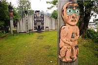 Totem poles & Tribal House of the Bear Chief Shakes Island Wrangell Alaska Southeast Summer