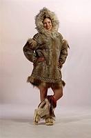 Native Alaskan Inupiat Woman in Wolf Fur Coat in Studio Alaska