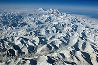Aerial view of Mt. McKinley and the Alaska Range during Winter, Denali National Park, Alaska