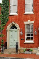 Historic row houses in a residential area of Old Town, Alexandria, Virginia, USA