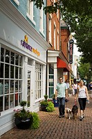 Shopping, restaurants, and sites line King Street in Old Town, Alexandria, Virginia, USA