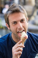A man eating an icecream