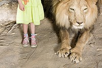 Girl standing beside a stuffed lion
