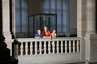 Mother and children at a museum