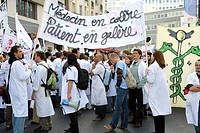 Photo essay for press only. On Thursday the 11th of October 2007 in Paris : demonstration of the medical residents for the location freedom. The artic...