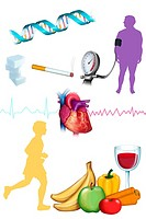 RISK FACTOR DRAW Illustration of cardiovascular risk factors. On the top : obese man, high blood pressure, tobacco, too sweet diet or diabetes, heredi...