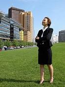 Geschäftsfrau am Potsdamer Platz
