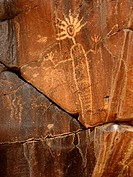 An Indian petroglyph in the Little Petroglyph Canyon of Southern California, USA