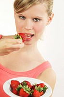 WOMAN EATING FRUIT Model.
