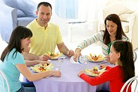 FAMILY EATING A MEAL Models.