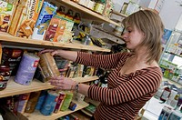 ORGANIC FOOD Organic grocery store. Organic puffed rice cake.