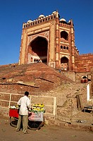 Side View of Buland Darwaza steps & fruit vendor , Fatehpur Sikri , Agra , Uttar Pradesh , India