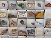 Mineral box (includes fluorite, malachite, quartz, pyrite cubes, red gypsum, calcite, aragonite, galena and others)