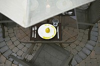 Place setting on patio table
