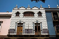 Ornate fa&#231;ade of building, Puebla, Mexico