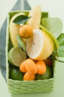 Citrus fruit and bananas in green basket