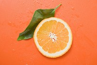 Slice of orange and leaf with drops of water