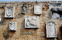 Plaques on wall, Torcello Museum, Museo Di Torcello, on the island of Torcello, Venice, Italy