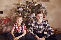 Two Boys in Front of Christmas Tree, 1940s