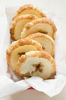 Palmiers puff pastry biscuits in box