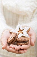 Hands holding Christmas biscuits