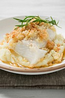 Haddock with potato crust on mashed potato