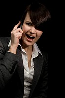 portrait of young businesswoman with mobile phone