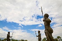 Turkmenistan, Ashgabat, Ashkhabad, Berzengi, Independance Park, Statues at The monument to the Independence of Turkmenistan