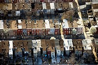 Aerial view of homes in Baltimore, Maryland