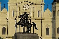 United States, Louisiana, New Orleans, Jackson Square, equestrian statue