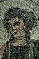 Cyprus, Kourion archaeological site, close-up of mosaic of Ktisis