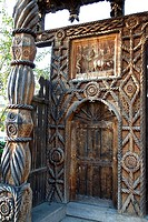 Romania, Maramures, carved wooden door