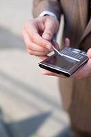 Hands using PDA