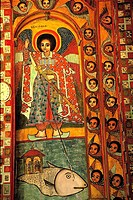 Ethiopia, lake Tana, Nerga Selessie monastery, inside fresco