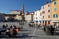 Piran, Tartini Square, italian style, typical houses, St George's Church, Belfry, Slovenia