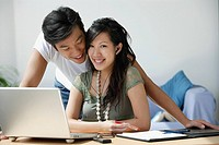 Young couple working at computer