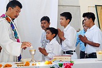 The first saint communion in the Guatemala