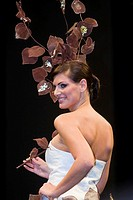 Laetitia Bléger, 2004 Miss France, presents a chocolate creation of La Maison Arnaud Larher _ Fashion designerAurélie Cherell
