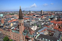 View from the tower of City Hall, Copenhagen, Denmark
