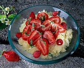 Strawberry salad and ice with basil